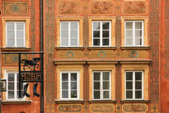 Baroque facade in the Old Town. Warsaw. Poland royalty free stock photo