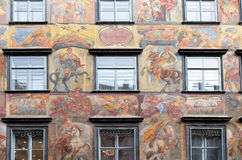 Baroque facade painting at the Grazer Herrengasse in Graz Royalty Free Stock Photo