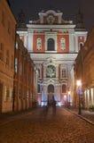 Baroque facade of the parish church at night Royalty Free Stock Photos