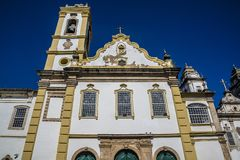 Baroque facade, Salvador, Bahia, Brazil. Pestana Convento do Carmo converted into a 5-star Hotel, Salvador, Bahia, Brazil stock photography