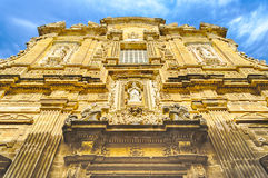 Baroque facade of the Sant'Agata Cathedral in Gallipoli, Italy Stock Image