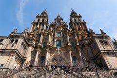 Baroque facade of Santiago de Compostela cathedral Royalty Free Stock Photo