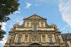 St.-Carolus Borromeus church in Antwerp. Baroque facade of St.-Carolus Borromeus church in Antwerp, Belgium Royalty Free Stock Photos