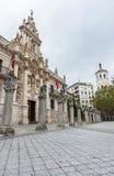 Baroque facade of the University of Valladolid. Baroque facade (1715) of the university building in Valladolid, Spain, designed by the Carmelite Fray Pedro de la stock photography