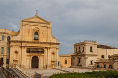 Baroque facades of the buildings in the historic part of Noto Royalty Free Stock Photos