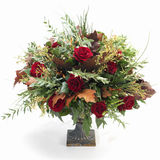 Baroque fall bouquet. With red roses and oak leaves against white background Royalty Free Stock Photography