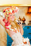 Baroque fashion blond woman drinking red wine Stock Photos