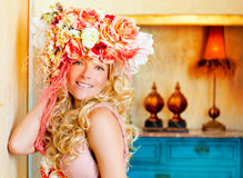 Baroque fashion blonde woman with flowers hat Royalty Free Stock Images