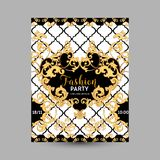 Baroque Fashion Decorative Design Posters, Luxury Brochures, Club Party Flyer, Abstract Renaissance Background. In Vector Royalty Free Stock Photography