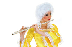 Baroque flautist Stock Images