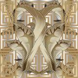 Baroque floral gold 3d vector seamless pattern in greek style. O. Rnamental silver vintage background. Repeat geometric trendy backdrop. Greek key meander royalty free illustration