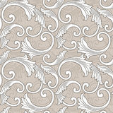 Baroque floral pattern, grey and beige Royalty Free Stock Image