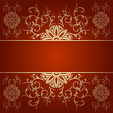 Baroque flowers vector background red Royalty Free Stock Images
