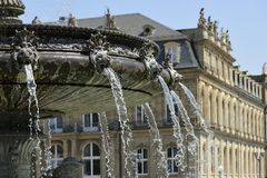 Baroque fountain and Castle, Stuttgart Royalty Free Stock Photography
