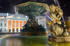 Baroque fountain detail at night. Rossio square. Lisbon. Portugal Stock Images