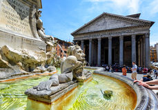Baroque fountain in front of the Pantheon, Rome Royalty Free Stock Photo