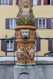 baroque fountain at historical place stock photo