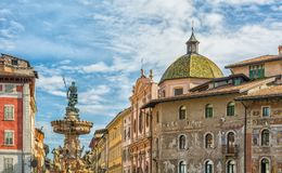 The baroque Fountain of Neptune at Piazza del Duomo in the center of the city of Trento in the region of Trentino Alto Adige, Sout. H Tyrol Stock Photo