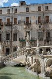Baroque fountain with nude figurines on piazza Pretoria in Paler. Mo, Sicily, Italy royalty free stock image