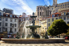Baroque fountain at rossio square, Lisbon Royalty Free Stock Image