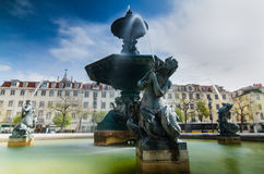 Baroque fountain on rossio square Royalty Free Stock Images