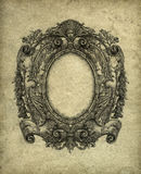 Baroque Frame. Grunge baroque frame, drawn with ink on paper Stock Photo
