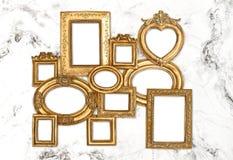 Baroque frame golden framework marble background Royalty Free Stock Image