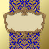 Baroque frame. Paper beige baroque frame against a gold blue vintage background. There is in addition a vector format (EPS 10 Royalty Free Stock Photos