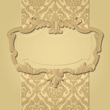 Baroque frame. Paper beige baroque frame against a vintage background. There is in addition a vector format (EPS 10 Stock Image