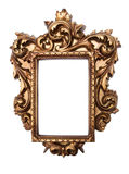 Baroque frame. Rich golden baroque frame isolated on white Stock Photography