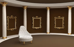 Baroque frames on wall gallery museum. And armchair Stock Photos