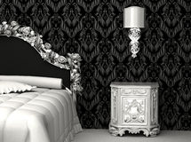 Baroque furniture in bedroom. Bed and bedside table with lamp. wallpapers Stock Illustration