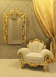 Baroque furniture in a luxurious interior. Baroque furniture with golden curtain in a luxurious interior Royalty Free Illustration