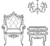 Baroque furniture rich set collection. Ornamented background Vector illustration Stock Photos
