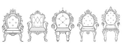 Baroque furniture rich set collection. Ornamented background Vector illustration Royalty Free Stock Image