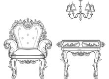 Baroque furniture rich set collection. Ornamented background Vector illustration Stock Image
