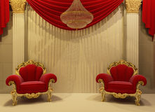 Baroque furniture in royal interior. Royal armchairs with chandelier Vector Illustration