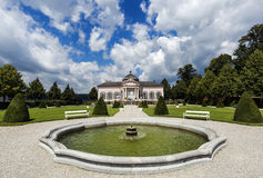 Baroque Garden Pavilion and people in park of Melk Abbey in Wachau Valley, Lower Austria. Stock Photography
