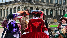Baroque gentleman and ladys walking trough Dresden stock video footage