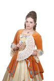 Baroque girl with fan Royalty Free Stock Photos