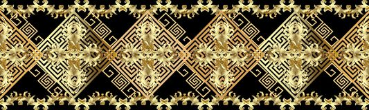 Baroque gold 3d border seamless pattern. Antique ornate background. Greek key meander ornaments. Vintage cross flowers, scroll le. Aves, lines, rhombus vector illustration
