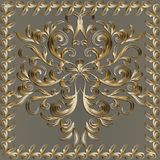 Baroque gold 3d panel pattern with floral frame. Vector beige vi. Ntage background. Hand drawn golden scrolls, flowers, leaves, branches, line art tracery Royalty Free Stock Photos