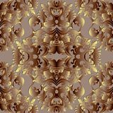 Baroque gold 3d seamless pattern. Floral vector background wallp. Aper with vintage damask flowers, scroll leaves, antique ornaments in baroque style. Surface Royalty Free Stock Photo