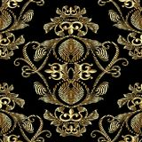 Baroque gold embroidery 3d seamless pattern. Vector patterned ta. Pestry background. Vintage line art tracery embroidred antique royal ornaments,  flowers Stock Photo