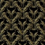 Baroque gold embroidery seamless pattern. Baroque embroidery seamless pattern. Floral damask background wallpaper with 3d gold vintage grunge flowers, arras Stock Photography