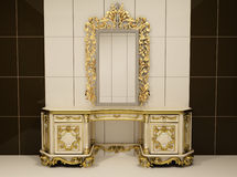 Baroque gold mirror with royal chest. Luxurious furniture in interior. Apartment. Bathroom interior Stock Illustration