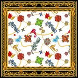 Baroque golden chain versace scarf design. Silk scarf with marine motifs. On the colored background royalty free illustration