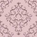 Baroque golden elements ornamental seamless pattern. Watercolor hand drawn gold element texture on pink background royalty free stock photos