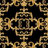 Baroque golden elements ornamental seamless pattern. Watercolor hand drawn gold element texture on black background