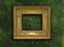 Baroque golden frame on green textured wall Royalty Free Stock Photo